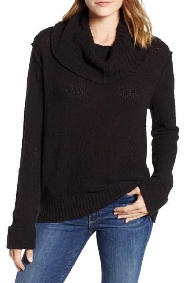 Women's Caslon Cuff Sleeve Sweater - Black