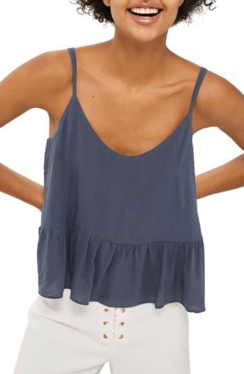 Women's Topshop Peplum Camisole Us (fits Like 2-4) - Grey