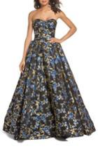 Women's Mac Duggal Brocade Bustier Gown - Blue