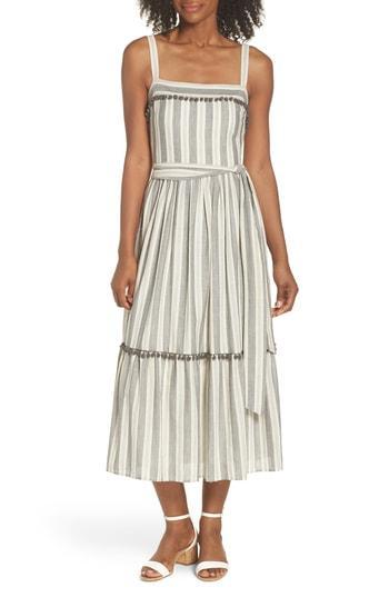 Petite Women's Maggy London Stripe Ruffle Hem Midi Dress P - Grey