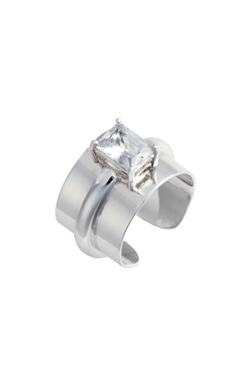 Women's Lisa Freede Adjustable Crystal Cigar Band Ring