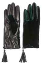 Women's Topshop Velvet & Leather Touchscreen Gloves - Green