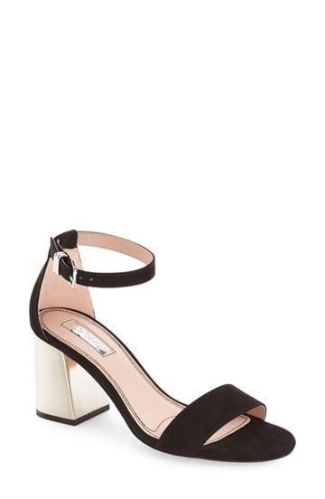 Women's Topshop 'noodle' Block Heel Sandal .5us / 36eu - Black