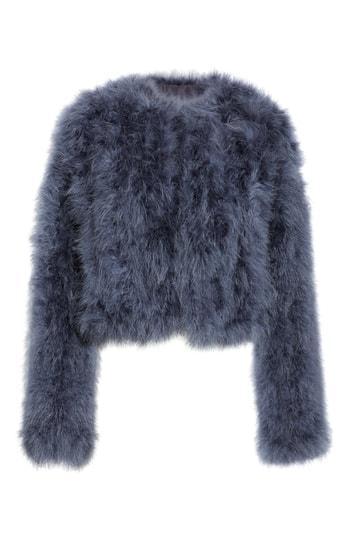 Women's Rebecca Minkoff Pacha Genuine Turkey Feather Jacket - Blue