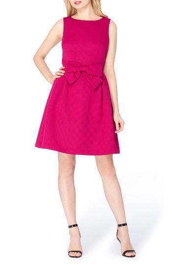 Petite Women's Tahari Bow Fit & Flare Dress P - Pink