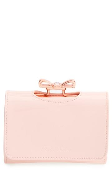 Women's Ted Baker London 'crystal Bow - Small' Patent Leather Clutch Wallet - Pink