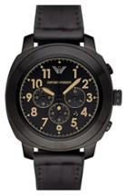 Men's Emporio Armani Chronograph Leather Strap Watch, 46mm