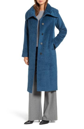Women's Hiso Wool & Alpaca Long Coat - Blue