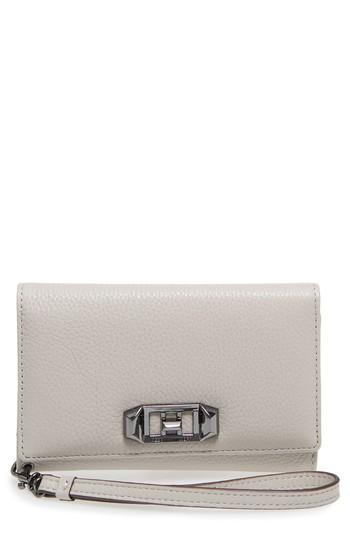Women's Rebecca Minkoff Love Lock Iphone X Leather Wristlet Folio - Ivory