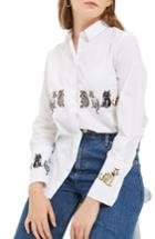 Women's Topshop Embroidered Cat Shirt Us (fits Like 0) - White