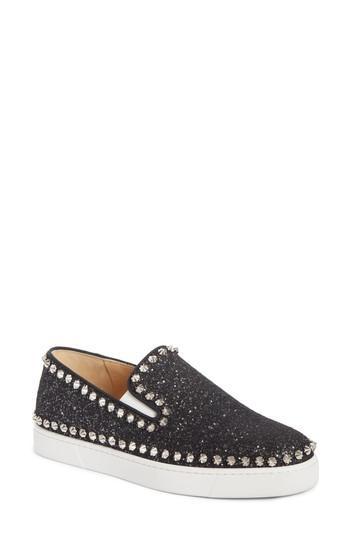 Women's Christian Louboutin Spike Slip-on Sneaker .5us / 39.5eu - Black