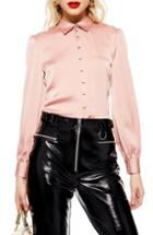 Women's Topshop Rouleau Button Shirt Us (fits Like 0) - Pink