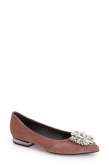 Women's Jeffrey Campbell 'leta' Jeweled Pointy Toe Flat, Size
