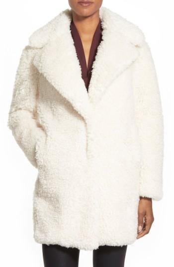 Women's Kensie 'teddy Bear' Notch Collar Reversible Faux Fur Coat, Size - (online Only)