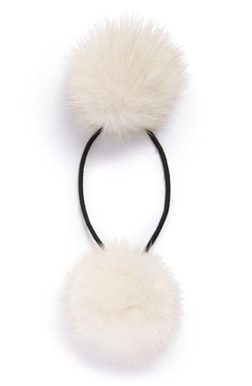 Alexandre De Paris Genuine Mink Pompom Ponytail Holder, Size - Ivory