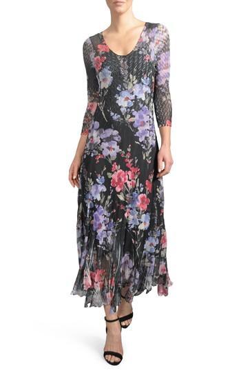 Petite Women's Komarov Print A-line Dress - Black