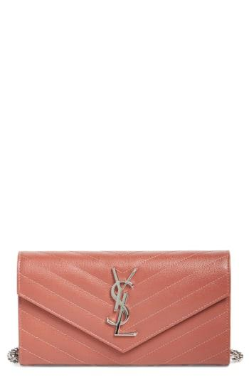 Women's Saint Laurent 'small Monogram' Calfskin Wallet On A Chain -