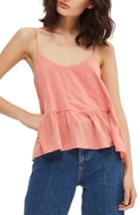 Women's Topshop Peplum Camisole Us (fits Like 2-4) - Coral
