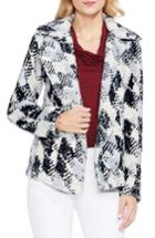 Women's Two By Vince Camuto Broken Houndstooth Faux Fur Coat