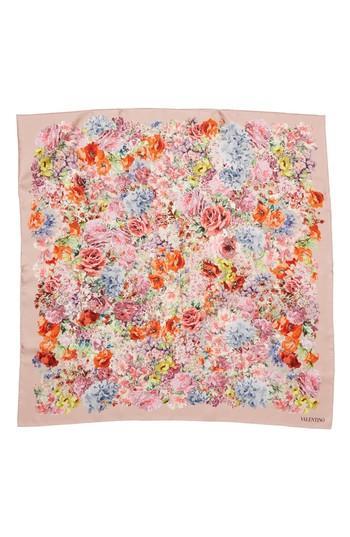Women's Valentino Jardin Des Fleurs Square Silk Scarf, Size - Pink