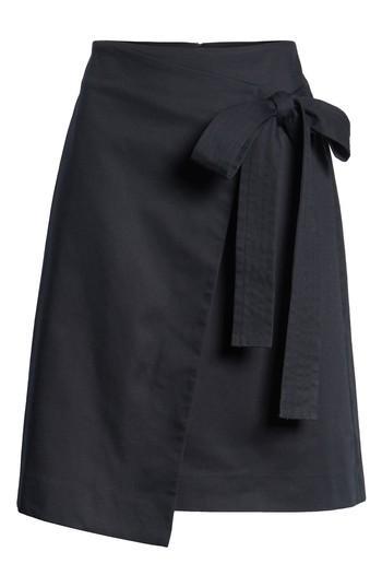 Petite Women's Halogen Tie Front Skirt P - Black