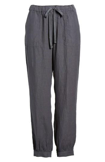 Petite Women's Caslon Crop Linen Joggers, Size P - Grey