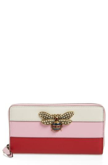 Women's Gucci Embellished Bee Leather Zip Around Wallet - Pink