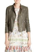 Women's Rebecca Taylor Leather Moto Jacket - Green