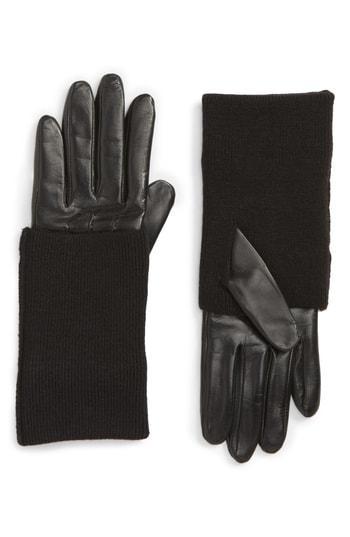 Women's Nordstrom Knit Cuff Lambskin Leather Gloves - Black