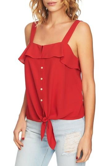 Women's 1.state Tie Front Blouse, Size - Red
