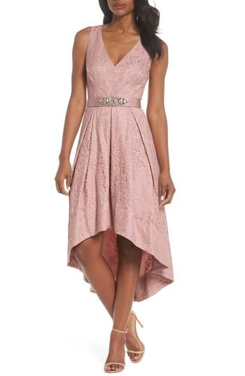 Petite Women's Eliza J Belted Lace High/low Dress P - Pink