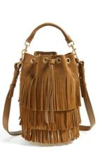 Saint Laurent 'seau' Fringed Suede Bucket Bag - Yellow
