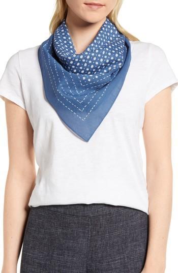 Women's Eileen Fisher Cotton Bandana, Size - Blue