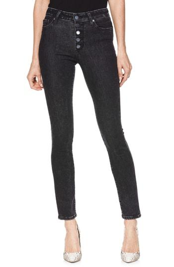 Women's Paige Hoxton Button High Waist Ankle Peg Jeans - Black