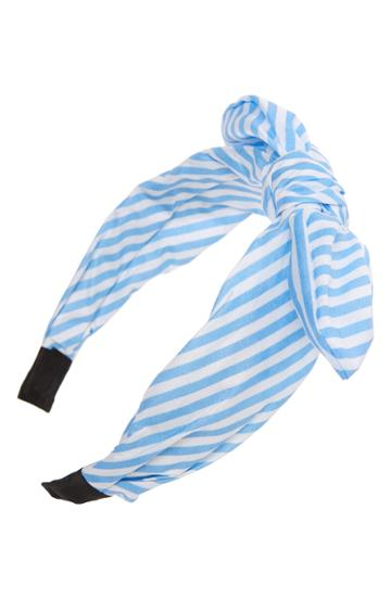 Tasha Knotted Stripe Bow Headband, Size - Blue