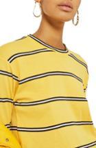 Women's Topshop Stripe Tee Us (fits Like 0-2) - Yellow