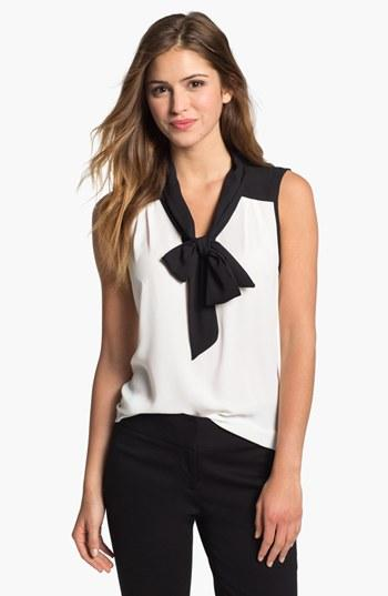 Olivia Moon Tie Neck Sleeveless Blouse Ivory With Black Trim