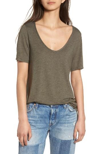 Women's Bp. Raw Edge V-neck Tee, Size - Green