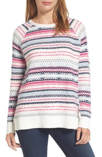 Petite Women's Caslon Tie Back Patterned Sweater P - Ivory