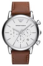 Men's Emporio Armani Chronograph Leather Strap Watch, 41mm