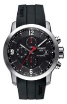 Men's Tissot Prc200 Automatic Chronograph Silicone Strap Watch, 43mm