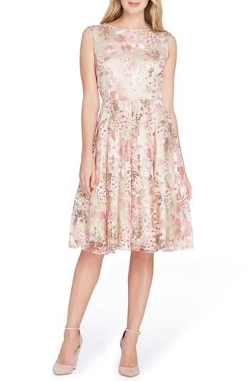 Women's Tahari Sleeveless Embroidery Fit & Flare Dress