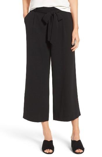 Petite Women's Halogen Wide Leg Crop Pants, Size P - Black
