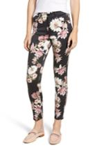 Women's Jen7 Floral Skinny Stretch Cotton Ankle Pants - Black
