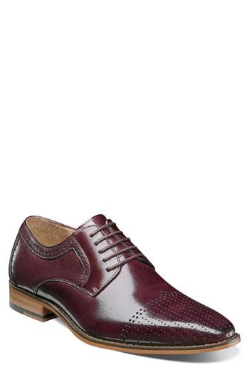 Men's Stacy Adams Sanborn Perforated Cap Toe Derby M - Burgundy