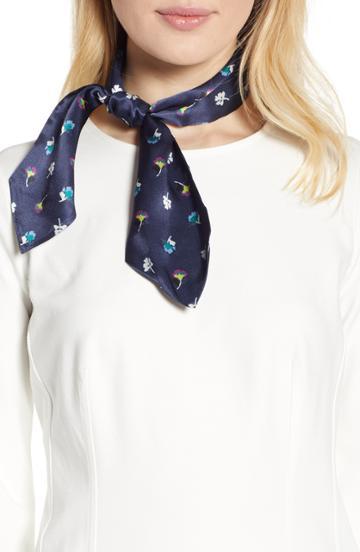 Women's Halogen Floral Silk Tie Scarf, Size - Blue