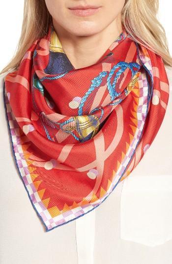 Women's Mantero Punti Cardinali Square Silk Scarf, Size - Red