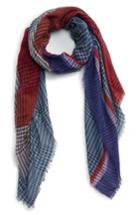 Women's Bp. Colorblock Houndstooth Scarf, Size - Blue