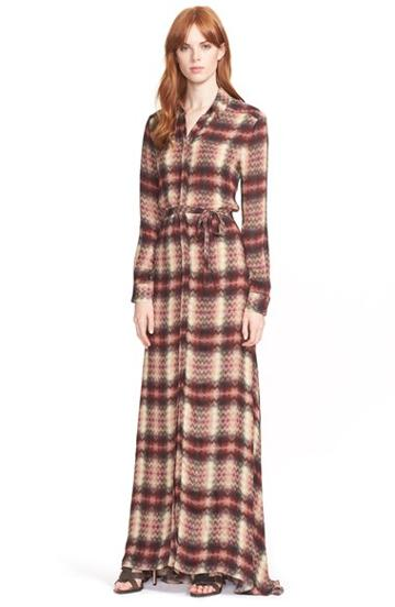 Women's Haute Hippie Plaid Silk Maxi Shirtdress
