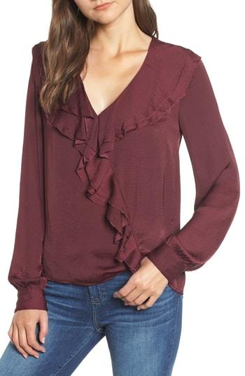 Women's Paige Cindel Ruffle Hammered Satin Blouse - Burgundy